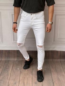 Skinyfit Yüksek Kalite Likralı Diz Ve Paça Yırtık Detaylı Beyaz Kot Pantolon