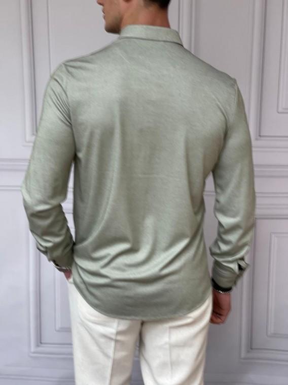 Slimfit Merserize Pamuk Uzun Kollu Fıstık Yeşili Gömlek