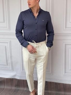 Slimfit Merserize Pamuk Uzun Kollu Lacivert Gömlek