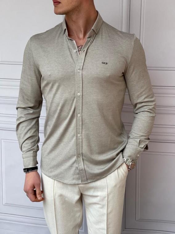 Slimfit Merserize Pamuk Uzun Kollu Taş Rengi Gömlek
