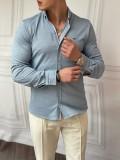 Slimfit Merserize Pamuk Uzun Kollu Buz Mavisi Gömlek