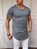 Slim Fit Oval Kesim Kısa Kollu Taş Rengi Pamuk Basic Tshırt