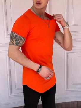 Slim Fit Oval Kesim Kısa Kollu Açık Turuncu Pamuk Basic Tshırt