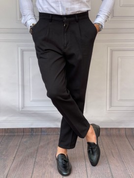 Şalvar Kesim Tek Pile Siyah Keten Pantolon
