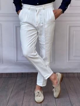 Şalvar Kesim Tek Pile Beyaz Keten Pantolon