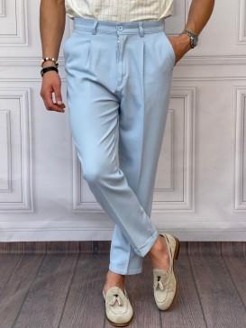 Şalvar Kesim Tek Pile Buz Mavisi Keten Pantolon