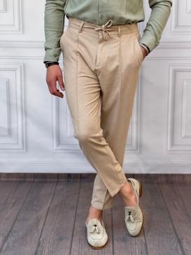 Ham Keten Normal Kalıp İp Ve Çizgi Detaylı Koyu Krem Yazlık Pantolon