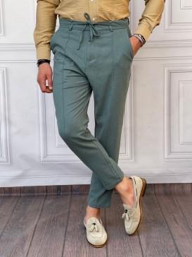 Ham Keten Normal Kalıp İp Ve Çizgi Detaylı Petrol Yeşili Yazlık Pantolon
