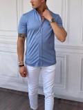 Slimfit Merserize Pamuk Kısa Kollu Koyu Buz Mavisi Gömlek