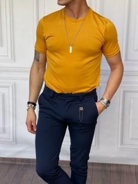 Slim Fit Pamuk Triko Kumaş Açık Sarı Tshırt