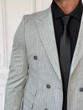 Çizgi Desen Detaylı Pamuk Kumaş Açık Gri Spor Kruvaze Takım Elbise