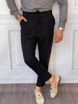 Ham Keten Relaxed Kalıp İp Ve Çizgi Detaylı Siyah Yazlık Pantolon