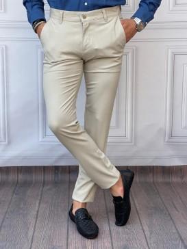 Normal Slim Fit Pamuklu Krem Kumaş Pantolon