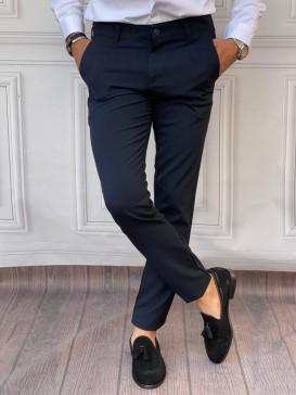Normal Slim Fit Pamuklu Lacivert Kumaş Pantolon