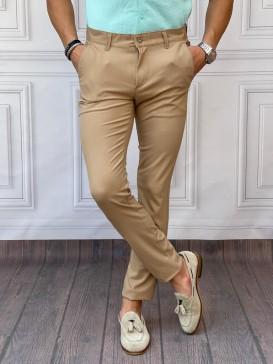 Normal Slim Fit Pamuklu Bal Rengi Kumaş Pantolon