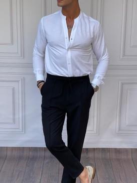 Pamuk Kumaş Hakim Yaka Beyaz Gömlek