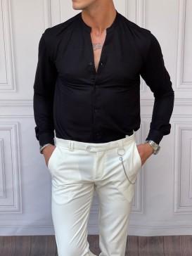 Pamuk Kumaş Hakim Yaka Siyah Gömlek