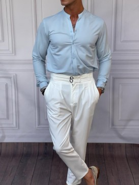 Pamuk Kumaş Hakim Yaka Buz Mavisi Gömlek