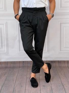 Çift Pile Yan Düğmeli Şalvar Kesim Siyah Kumaş Pantolon