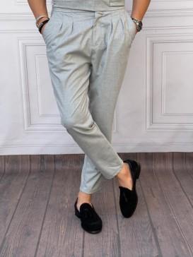 Çift Pile Yan Düğmeli Şalvar Kesim Gri Kumaş Pantolon