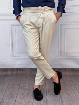 Çift Pile Yan Düğmeli Şalvar Kesim Krem Kumaş Pantolon