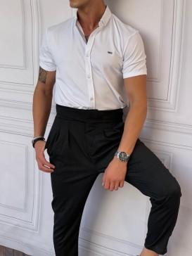 Slimfit Merserize Pamuk Kısa Kollu Beyaz Gömlek