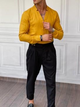 Rahat Kalıp Yaka Yırtmaç Detaylı Sarı Keten Gömlek