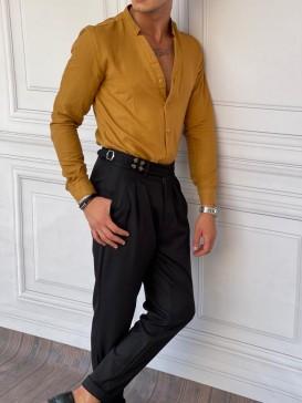 Rahat Kalıp Yaka Yırtmaç Detaylı Kahverengi Keten Gömlek