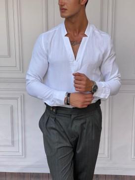Rahat Kalıp Yaka Yırtmaç Detaylı Beyaz Keten Gömlek