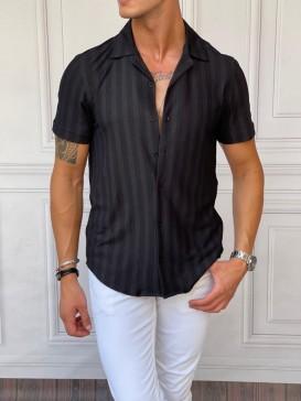 Dikey Desen Detaylı Normal Slim Fit Pamuklu Siyah Gömlek