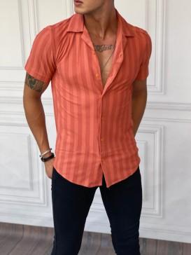 Dikey Desen Detaylı Normal Slim Fit Pamuklu Turuncu Gömlek