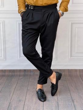 Rahat Kalıp Şalvar Kesim Koyu Siyah Kumaş Pantolon