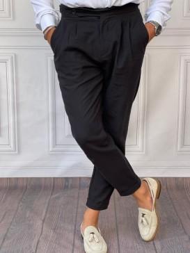 Duble Paça Ham Keten Şalvar Kesim Siyah Pantolon