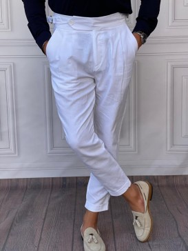 Duble Paça Ham Keten Şalvar Kesim Beyaz Pantolon