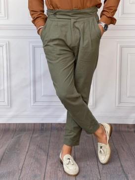 Duble Paça Ham Keten Şalvar Kesim Haki Pantolon