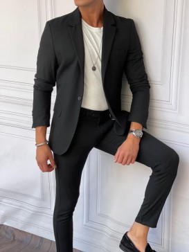 Ceket+Pantolon Pamuk Likra Siyah Takım