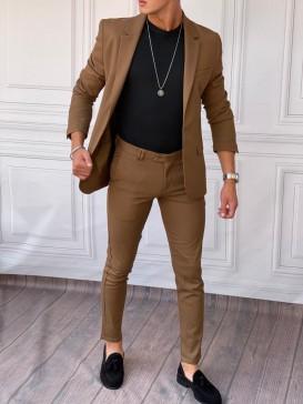 Ceket+Pantolon Pamuk Likra Kahverengi Takım