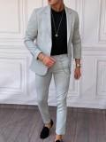 Ceket+Pantolon Pamuk Likra Açık Gri Takım