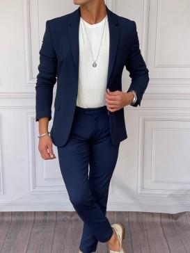 Ceket+Pantolon Pamuk Likra Lacivert Takım