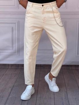 Gabardin Kumaş Boyfriend (Rahat Kalıp) Krem Pantolon