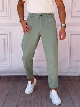 Gabardin Kumaş Boyfriend (Rahat Kalıp) Haki Pantolon
