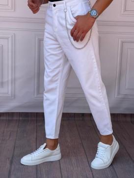 Gabardin Kumaş Boyfriend (Rahat Kalıp) Beyaz Pantolon