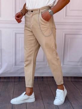 Gabardin Kumaş Boyfriend (Rahat Kalıp) Sütlü Kahve Pantolon