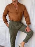 V Yaka Pamuklu Normal Slimfit Kiremit Rengi Gömlek