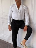 V Yaka Pamuklu Normal Slimfit Beyaz Gömlek