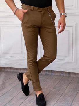 Pamuk Likra Kumaş Slimfit Kahverengi Kumaş Pantolon