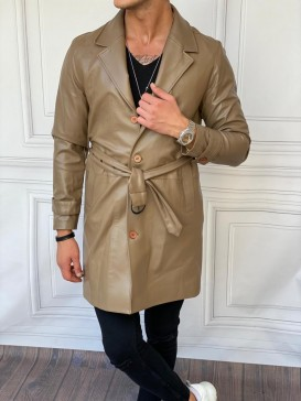 Oversize Yüksek Kalite Kemer Detaylı Uzun Vizon Deri Palto