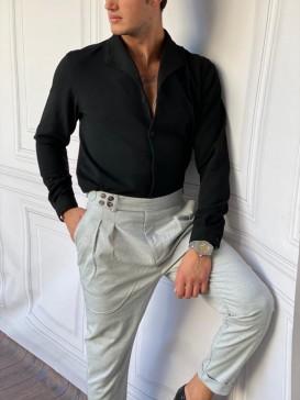 Yaka Katlama Detaylı Yüksek Kalite Kışlık Örme Siyah Gömlek