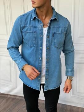 Çift Cep Detaylı %100 Kot Mavi Gömlek