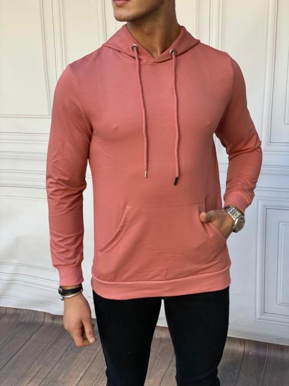Kapüşonlu 2 iplik Pamuk Gül Kurusu Rengi Sweatshırt
